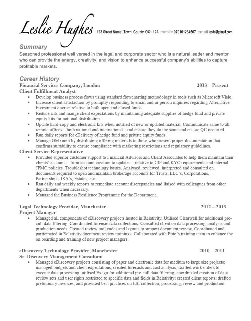 legal cv writing example success story